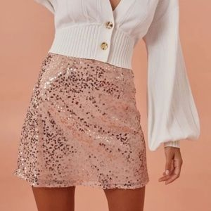 Finders Keepers Rose Gold Sequin Skirt